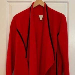 Red boiled wool CHICOS sweater/light weight coat